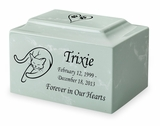 Lounging Cat Pet Classic Cultured Marble Cremation Urn Vault - Engravable - 34 Color Choices