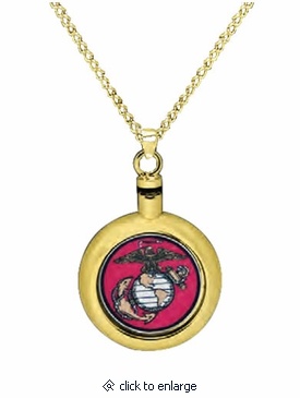 marine corps brass cremation jewelry necklace