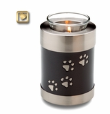 Midnight Tone Paw Prints Tealight Candle Brass Pet Cremation Urn