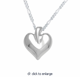Modern Heart Sterling Silver Cremation Jewelry Pendant Necklace