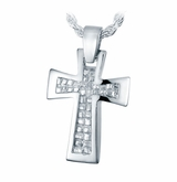 Nugget Cross Sterling Silver Cremation Jewelry Pendant Necklace