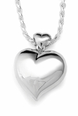 Offset Heart Sterling Silver Cremation Jewelry Pendant Necklace