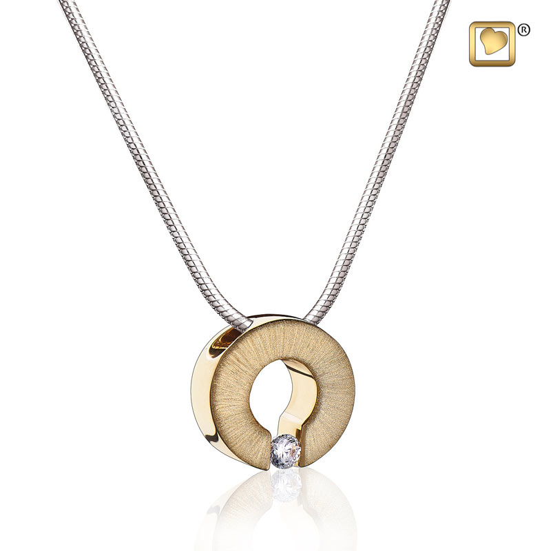 Omega with crystal two tone gold vermeil cremation pendant necklace mozeypictures Choice Image