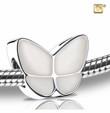 Pearl Enamel Wings of Hope Rhodium Plated Sterling Silver Cremation Jewelry Bead