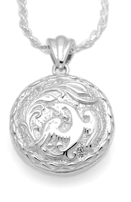 Phoenix round sterling cremation jewelry pendant necklace for ashes aloadofball Choice Image