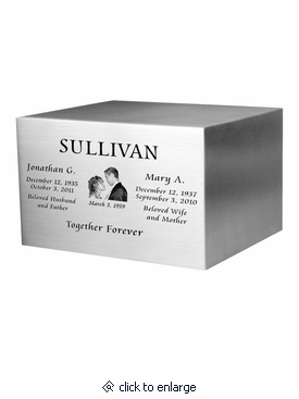 Photo Engraved Companion Satin Stainless Steel Cremation Urn