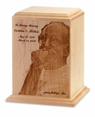 Photo Etched Traditional Solid Maple Wood Cremation Urn - Engravable