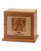 Photo Etched Vision Horizontal Wood Cremation Urn - Engravable