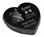Photo Laser-Engraved Pet Heart Marker Black Granite Memorial