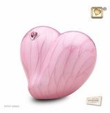 Pink LoveHeart Medium Cremation Urn