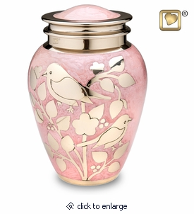 Pink with Gold Blessing Birds Brass Cremation Urn