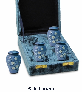 Plum Blossom Hand Painted Ceramic Keepsake Cremation Urn - 4-pack