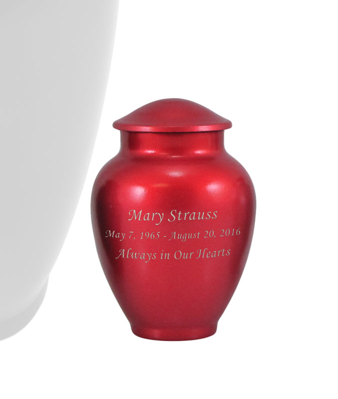 Red Traditional Vase Style Alloy Keepsake Cremation Urn