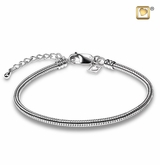 Rhodium Plated Sterling Silver Cremation Jewelry Bead Bracelet