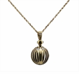 Ribbed Ball 14kt Gold Cremation Jewelry Necklace
