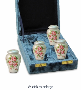 Rose Bouquet Hand Painted Ceramic Keepsake Cremation Urn - 4-pack