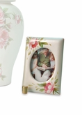 Rose Bouquet Hand Painted Ceramic Keepsake Photo Frame Cremation Urn