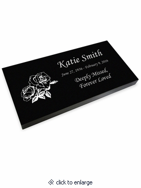 Rose Grave Marker Black Granite Laser-Engraved Memorial Headstone
