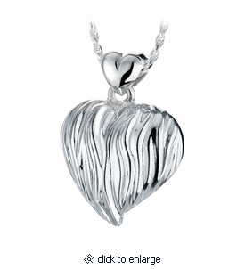 Sand Dune Heart Sterling Silver Cremation Jewelry Pendant Necklace