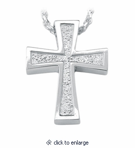 Satin Finish Cross Sterling Silver Cremation Jewelry Pendant Necklace