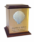 Shell Sheet Bronze With Walnut Trim Snap-Top Cremation Urn