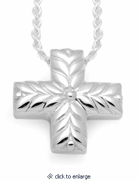 Short Leaves Cross Sterling Silver Cremation Jewelry Pendant Necklace