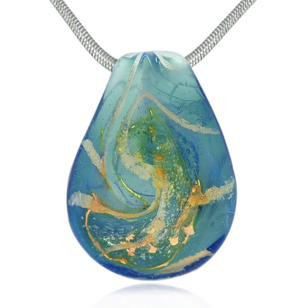 Heavenly blue cremains encased in glass cremation jewelry pendant aloadofball Gallery