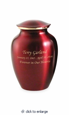 Small Classic Crimson Brass Cremation Urn - Engravable