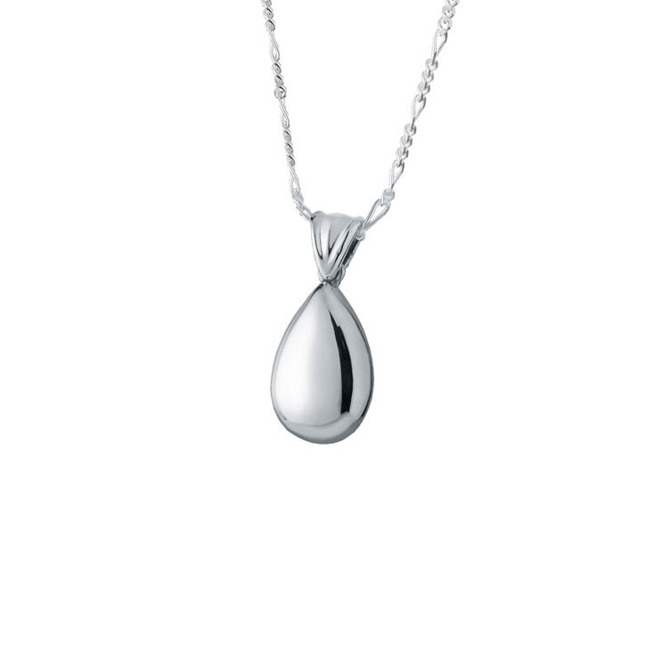Small high polish teardrop sterling cremation jewelry necklace aloadofball