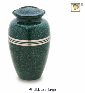 Speckled Emerald Brass Cremation Urn