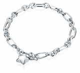 Star Charm Oval Link Sterling Silver Cremation Jewelry Bracelet