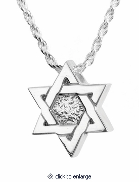Star of david sterling cremation jewelry pendant necklace for Star of david jewelry wholesale