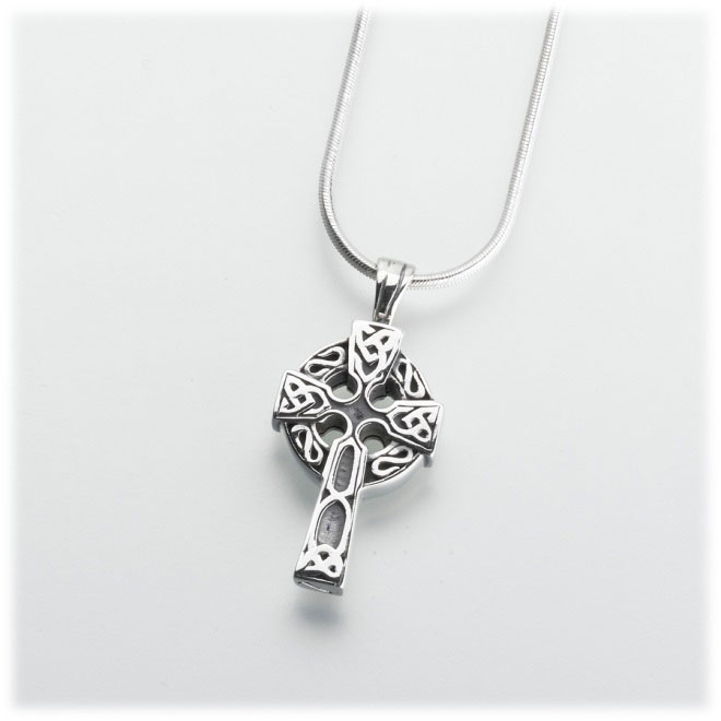 Sterling silver celtic cross cremation jewelry pendant for ashes mozeypictures Image collections