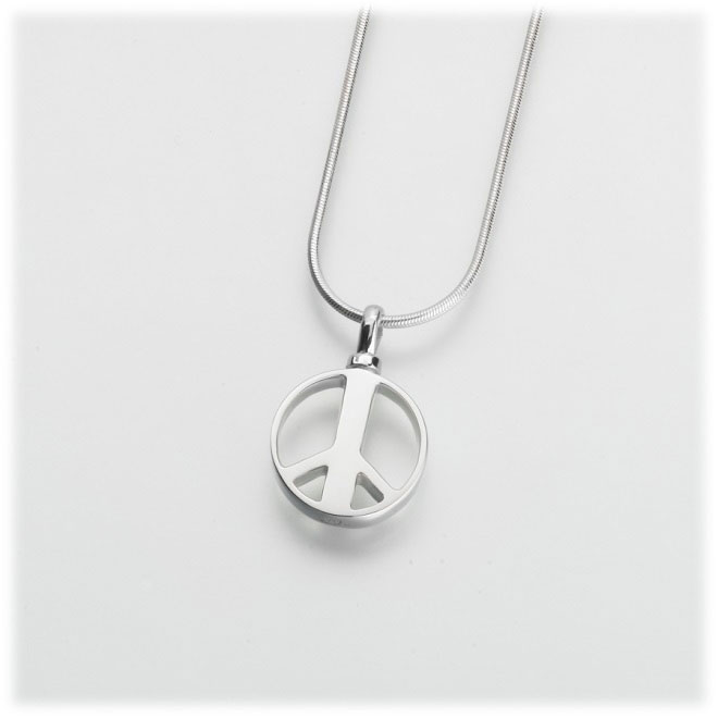 Sterling silver peace sign cremation jewelry pendant for ashes aloadofball Gallery