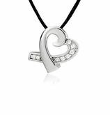 Studded Heart Slider Stainless Steel Cremation Jewelry Pendant Necklace