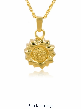 Sunflower gold vermeil cremation jewelry pendant necklace aloadofball Gallery