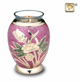 Tealight Candle Lilac Rose Brass Keepsake Cremation Urn