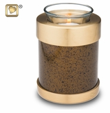 Tealight Candle Speckled Auburn Brass Keepsake Cremation Urn