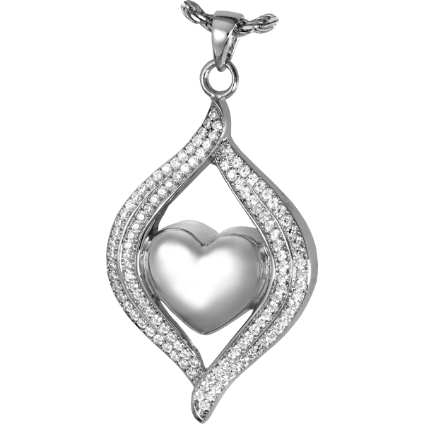 Teardrop ribbon heart cremation jewelry in sterling silver mozeypictures Image collections