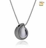 TearDrop Two Tone Black Ruthenium Plated Sterling Silver Cremation Jewelry Pendant Necklace