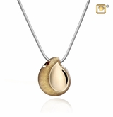 TearDrop Two Tone Gold Vermeil Cremation Jewelry Pendant Necklace