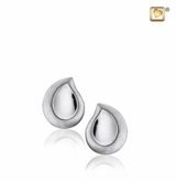 TearDrop Two Tone Rhodium Plated Sterling Silver Memorial Jewelry Stud Earrings