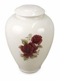 Tivoli III Roses Classic Hand-Thrown Porcelain Vase Cremation Urn