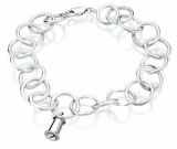 Traditional Charm Round Link Sterling Silver Cremation Jewelry Bracelet