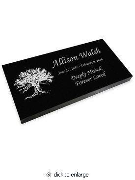 Tree of Life Grave Marker Black Granite Laser-Engraved Memorial Headstone