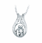 Two Parents Three Children Family Sterling Silver Cremation Jewelry Pendant Necklace