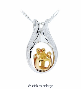 Two Parents Two Children Family Sterling Silver with Gold Cremation Jewelry Pendant Necklace