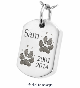 Two pawprints dog tag sterling silver pet cremation necklace two pawprints dog tag sterling silver memorial pet cremation jewelry pendant necklace aloadofball Images