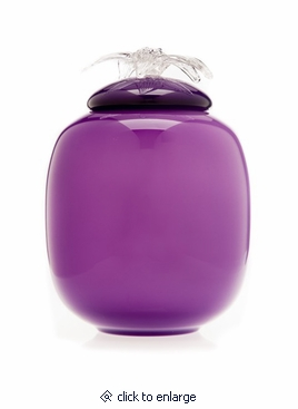 Violet Flores Collection Hand Blown Glass Cremation Urn