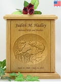 Walleye Fish Relief Carved Engraved Wood Cremation Urn